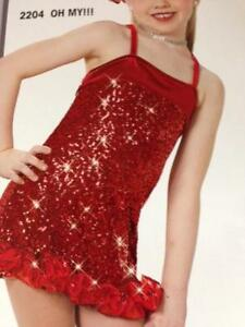 Christmas Dance Costume Red Dress Ballet Tap Pageant Parade Oh My