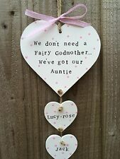 Personalised Plaque Sign Hanging Heart Auntie Birthday Present Gift Chic