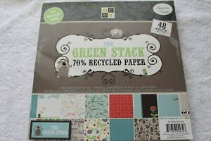 DCWV Diecuts with a View THE GREEN STACK 8 x 8 printed cardstock 44 sheet pack