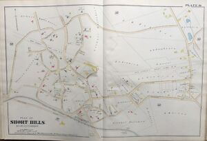 1890 ESSEX COUNTY, N.J. SHORT HILLS STATION & P.O. MILLBURN TOWNSHIP ATLAS MAP