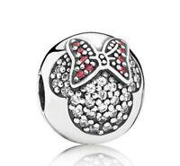 925 Sterling Silver Sparkling Minnie Pave CLIP Bead fit European Charm Bracelet