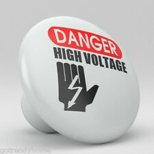 Danger High Voltage Design Ceramic Knobs Pulls Kitchen Drawer Cabinet Vanity 201