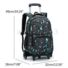 School Bag Children Climb Stair with 3 Wheels Removable Trolley Wheeled Backpack