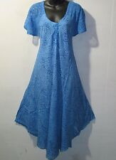 Dress Fits L XL 1X 2X Plus Sundress Tunic Blue Leopard Print A Shaped NWT 7603