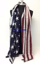 New Fashion Large Thick Soft Warm Wrap Shawl USA Flag Long Scarf Stole Unisex