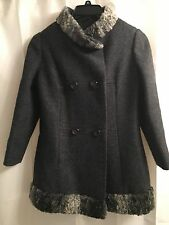 PERSIAN Curly LAMB Military PRINCESS Gray WOOL Coat BLAZER Stroller JACKET XS S