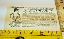 Neat Old 1896 Ad Advertising Quack Modene Hair Removal for Good Cincinnati OH