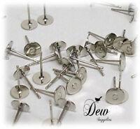 50 x 6mm Iron Earstuds Earrings Platinum jewellery earring Ear stud