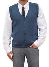 TINKUY PERU 100% Alpaca Mens V-Neck Cable Knit Sweater Steel Blue Button Up Vest