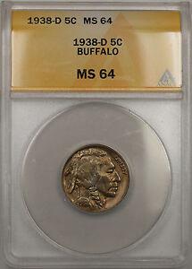 1938-D Buffalo Nickel 5C Coin ANACS MS-64 (10 I)