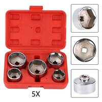 "Oil Filter Wrench Remover Socket Set 5pc 3/8"" Drive 24,27,32,36,38mm Cr-V 6pt"
