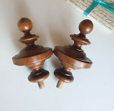 2 Antique French turned wood post finial end cap Salvaged furniture part 4.25""