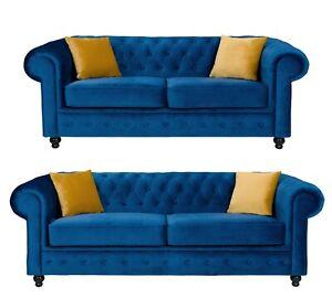 Chesterfield Style Sofa Hilton Blue Plush French Velvet 3+2 Seater Set