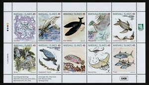 MARSHALL ISLANDS, SCOTT #1133, FULL SHEET OF 10 FISH, WHALES & MARINE LIFE 2016