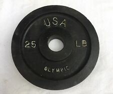 """Olympic Grip 25lb Plate Weight Cast Metal Used Barbell 2"""" Hole"""