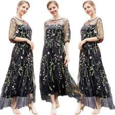 Модные дамские вышивка тюля длинное платье или нарядное платье женский вечеринка Праздничная платья