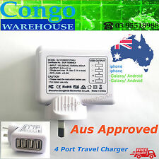 4 Port USB AC Adapter Plug Travel Wall Charger For iPhone iPad Samsung Android