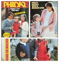 Phildar Knitting Pattern Book Family 4 Ply Knitting 11 Designs Hand & Machine