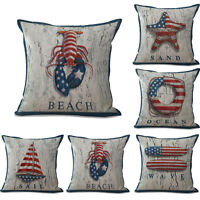 Retro Flag Ocean Nautical Cotton Linen Cushion Cover Throw Pillow Case Decor