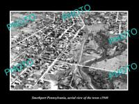 OLD LARGE HISTORIC PHOTO OF SMETHPORT PENNSYLVANIA AERIAL VIEW OF TOWN c1940
