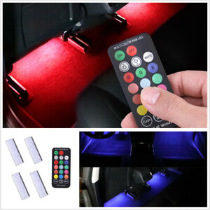 RGB Car Charging Foot Lamp Ambient Light Remote Control Interior Decor Light 4PC