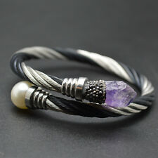 Unique Wrapped Stainless Steel Amethyst and Pearl Beads Woman Bangle Bracelets