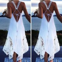 UK 8-22 Women Sleeveless Lace Sexy Backless Beach Ball Gown Long Maxi Dress Plus