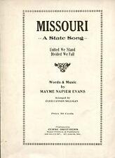 MISSOURI - A STATE SONG - MAYME NAPIER EVANS - SHEET MUSIC - ZERSE BROS - 1932