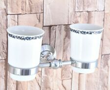 Polished Chrome Toothbrush Holder Double Ceramic Cups Holder Wall Mounted aba796