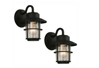 Outdoor Exterior Porch Wall Light Lantern Lighting Fixture Black Glass 2 Pack