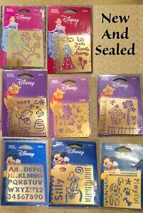 "Disney brass stencils - Brand New - 3"" x 3"" - Mickey, Cinderella, Pluto, Winnie"