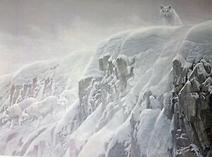 Robert Bateman Lithograph ARCTIC CLIFF- WHITE WOLVES Premier Edition #903/950