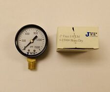 "Set of 2 JHawk 0-1500 psi, 2"" Face, 1/4"" LM Brass Dry Pressure Gauges, NOS."