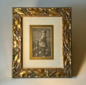 """Framed Book Plate Illustration from 1889 Book """"In Picture Land"""" Servant Girl"""