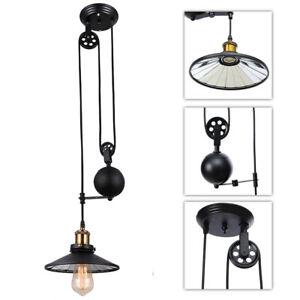 Loft Rustic Vintage Pendant Light Kitchen Island Adjustable Pulley Ceiling Lamp