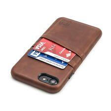 Exec iPhone 7 8 Card Case - Dockem, Ultra Slim Wallet 2 pocket, PU Leather Brown