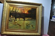 "Farm Sheep Painting Oil On Canvas 26""x32"" Signed Stewart Framed."