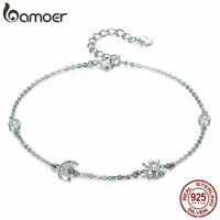 BAMOER S925 Sterling Silver Bracelet Sun and moon Charm With CZ Women Jewelry