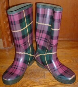 "L.L. Bean Plum & Green Plaid ""Wellies"" Rain Boots - Women's Size 10"