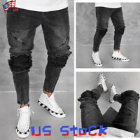 Fashion Men Ripped Jeans Ankle Zip Frayed Denim Pencil Pants Ribbed Hip Hop US