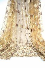 Excellent Reflect Embroidery Flower on Champagne Gold Wedding Bridal Lace Fabric