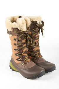 MERRELL Winterbelle Peak Boots 7 in Mahogany Brown Suede Waterproof Insulated