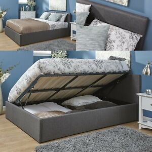 Fabric Leather Ottoman Storage Side or End Gas Lift Bed Frame 3ft 4ft 4ft6 5ft