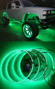 "15.5"" LED Wheel Light Ring High Powered Green LED Tire Rim Lights Swithch"