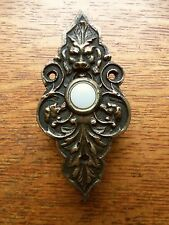 "New Victorian ""Lion & Hound"" Cast Brass Doorbell Push Button"