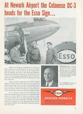 1951 Esso Fuel Aviation Ad Newark New Jersey Airport Celanese Douglas DC-3
