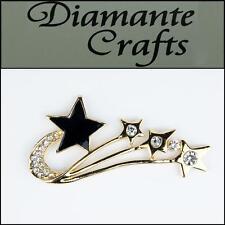 3D Shooting Star Gold Alloy Clear Diamantes Black Enamel DIY Case Deco 3FST2013