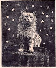 New MAGENTA RUBBER STAMP MAGICIAN KITTY CAT AMONG STARS mounted free USA ship xL