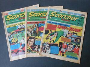 THREE 1973 Vintage SCORCHER and SCORE Comics 10th/ 17th/ 24th Nov Trevor Francis