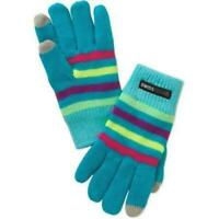 Kids Youth Swiss Tech Blue Stripped Knit Mitten Winter Gloves with Texting